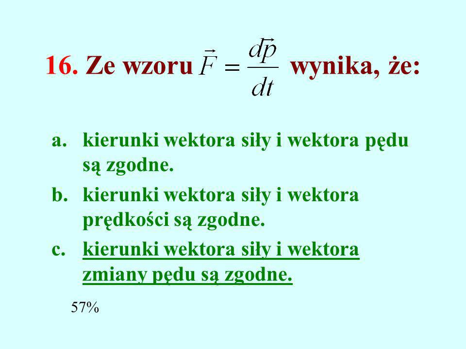 15. Wektor, który jest w każdym momencie styczny do toru, to: a.wektor przyspieszenia. b.wektor przesunięcia. c.wektor prędkości. 70%