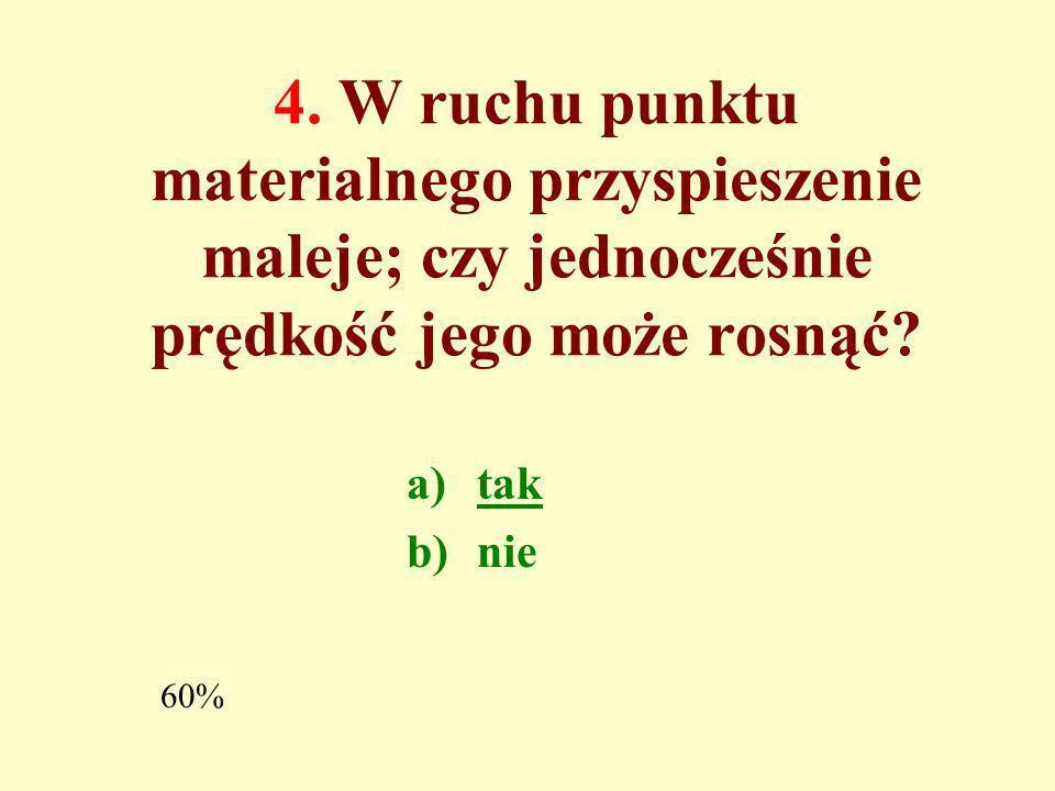 3. W pewnej chwili punkt materialny ma zerową prędkość; czy oznacza to, że jego przyspieszenie jest równe zeru? a)tak b)nie 60%