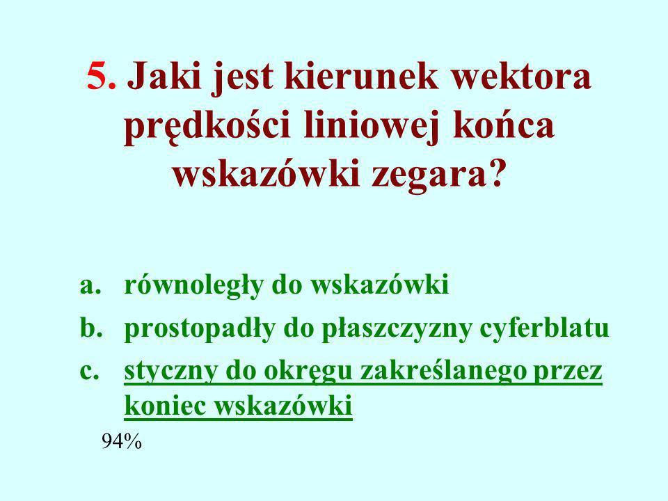 5.Jaki jest kierunek wektora prędkości liniowej końca wskazówki zegara.