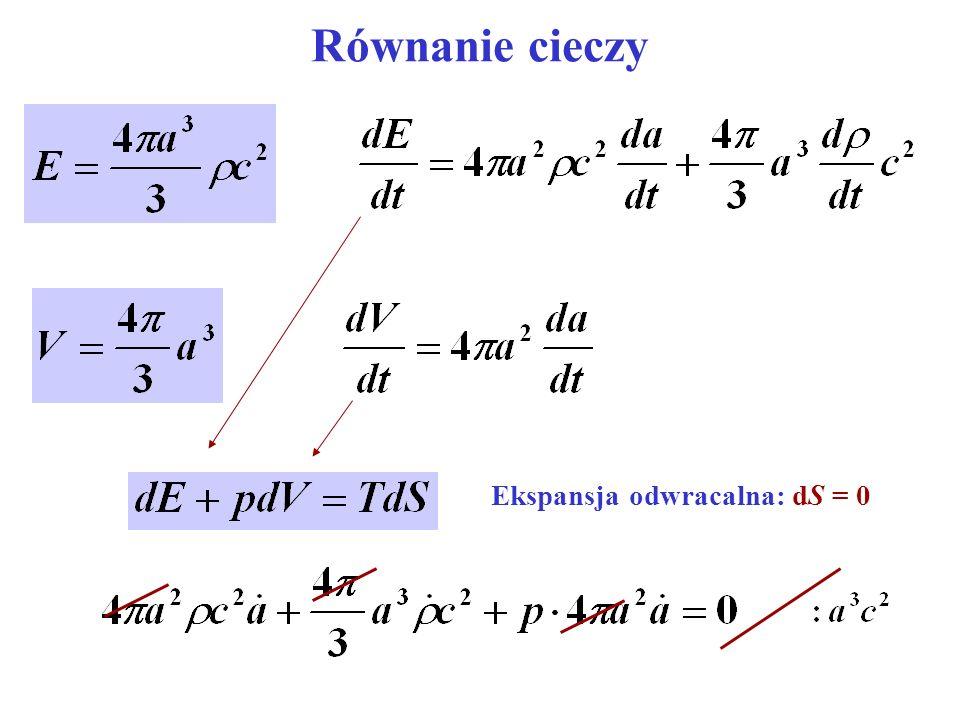 Równanie cieczy Ekspansja odwracalna: dS = 0