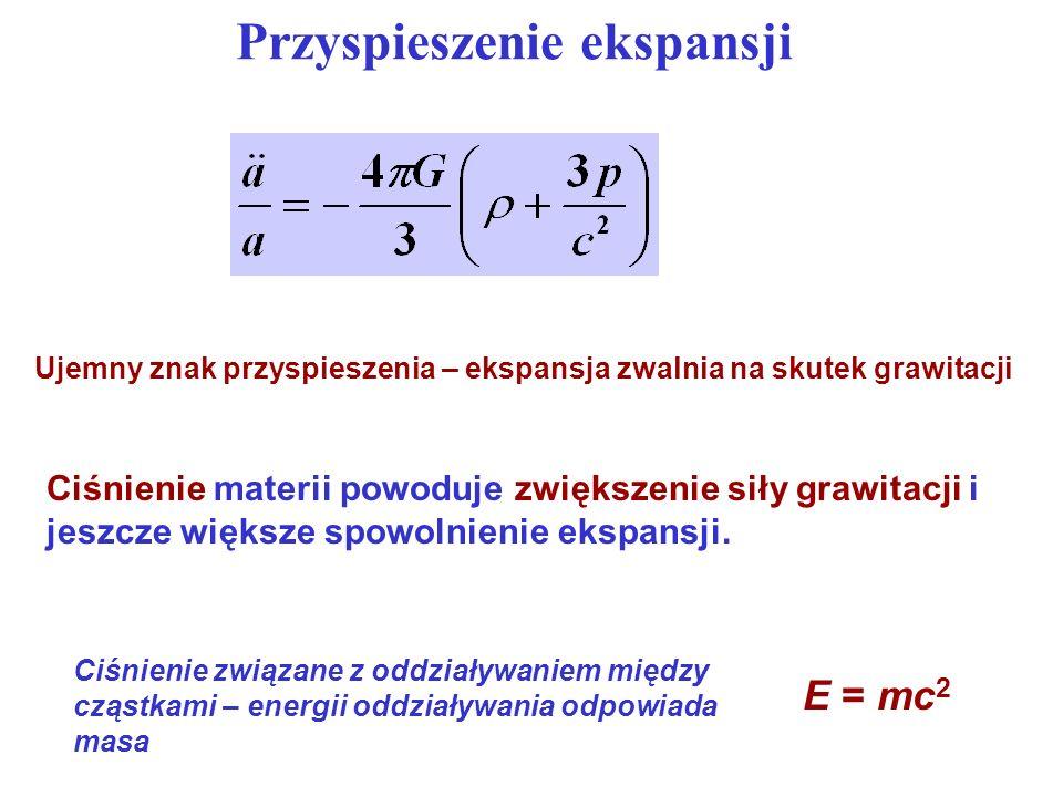 Przyspieszenie ekspansji Ciśnienie materii powoduje zwiększenie siły grawitacji i jeszcze większe spowolnienie ekspansji. Ujemny znak przyspieszenia –
