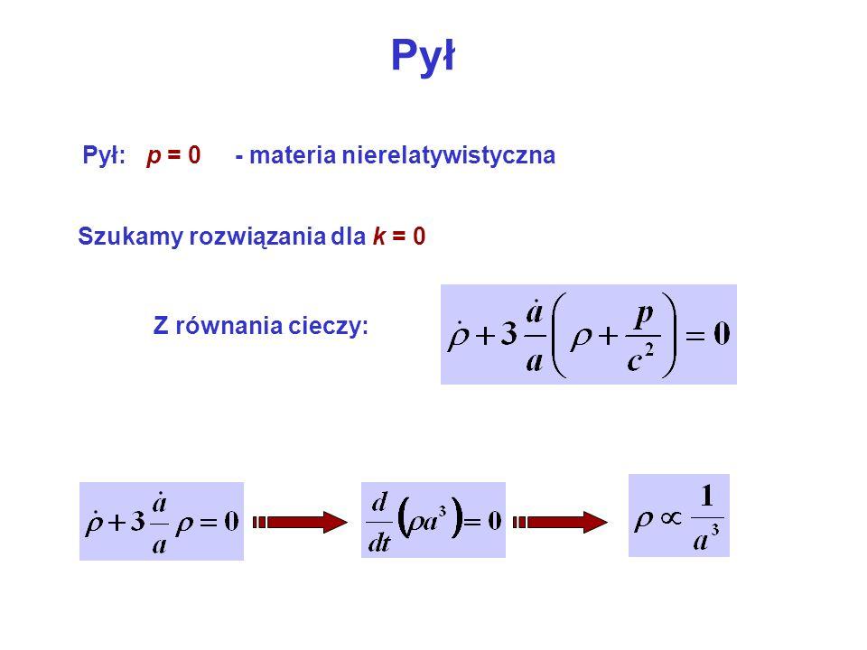 Pył Pył: p = 0 - materia nierelatywistyczna Szukamy rozwiązania dla k = 0 Z równania cieczy: