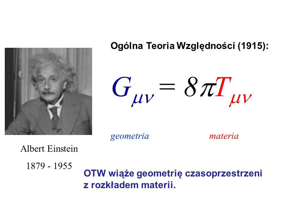 Albert Einstein 1879 - 1955 Ogólna Teoria Względności (1915): G = 8 T geometria materia OTW wiąże geometrię czasoprzestrzeni z rozkładem materii.