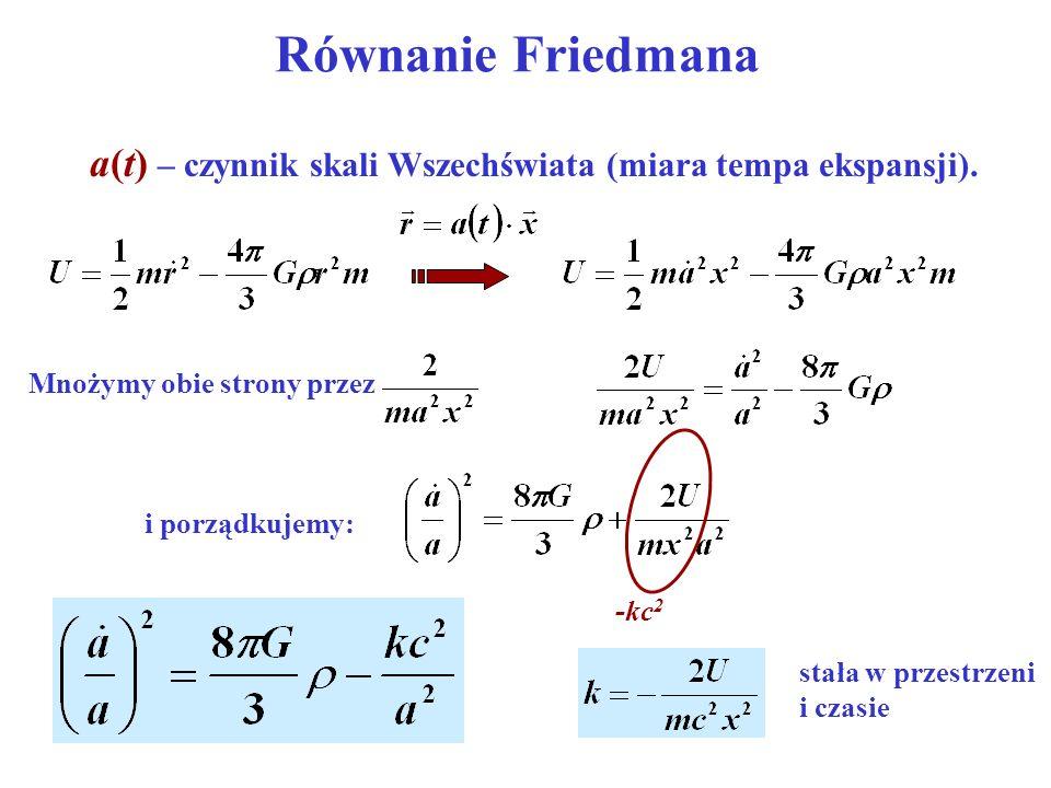Równanie Friedmana a(t) – czynnik skali Wszechświata (miara tempa ekspansji). Mnożymy obie strony przez i porządkujemy: -kc 2 stała w przestrzeni i cz