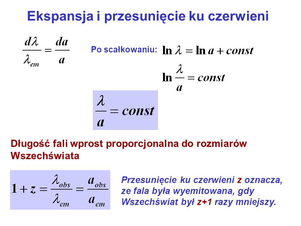 Ekspansja i przesunięcie ku czerwieni Po scałkowaniu: Długość fali wprost proporcjonalna do rozmiarów Wszechświata Przesunięcie ku czerwieni z oznacza