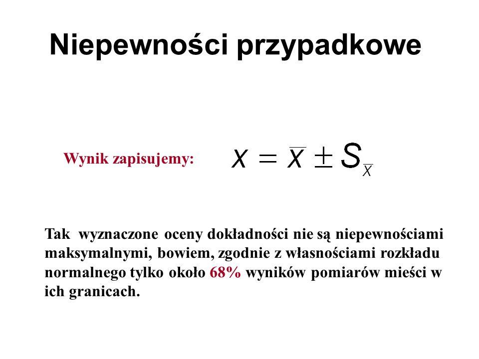 Niepewności przypadkowe Mierzymy dwie wielkości: x 1, x 2 Chcemy obliczyć inną wielkość y, która jest ich funkcją: y = f(x 1, x 2 ).