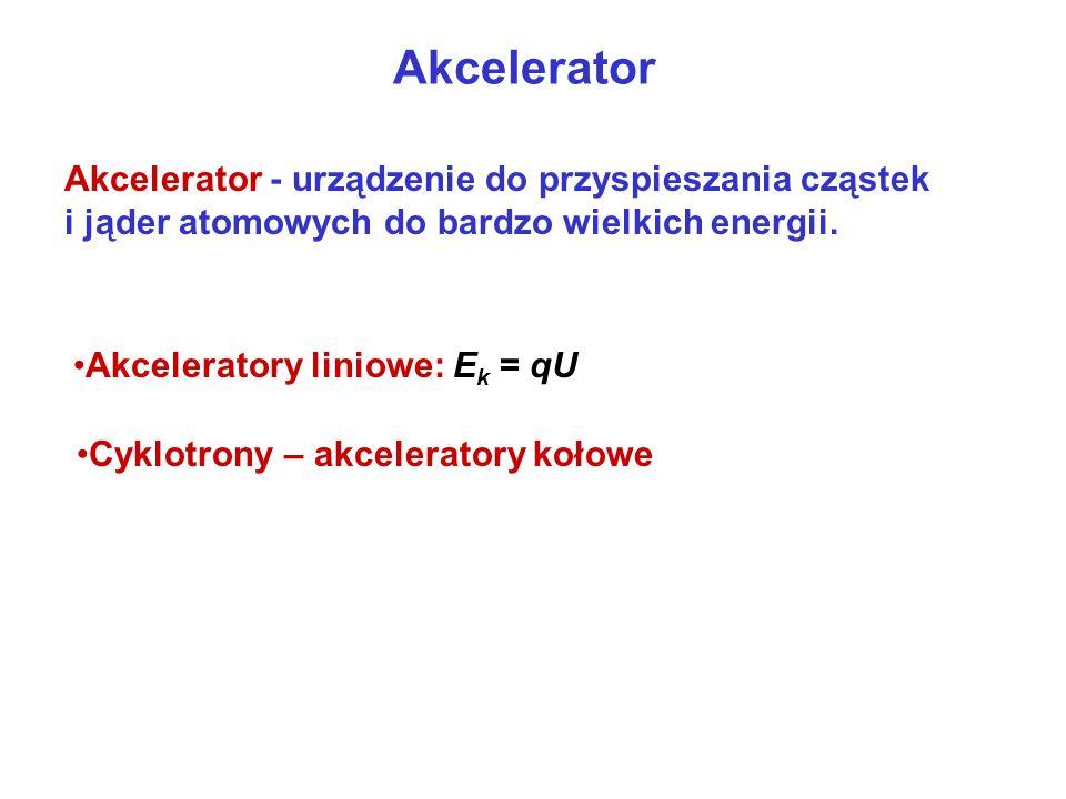 Akcelerator Akcelerator - urządzenie do przyspieszania cząstek i jąder atomowych do bardzo wielkich energii. Akceleratory liniowe: E k = qU Cyklotrony