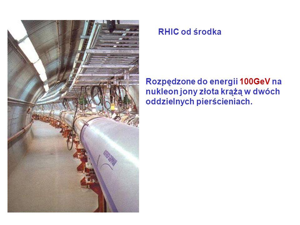 Rozpędzone do energii 100GeV na nukleon jony złota krążą w dwóch oddzielnych pierścieniach. RHIC od środka
