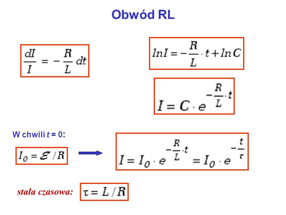 Obwód RL W chwili t = 0 : stała czasowa: