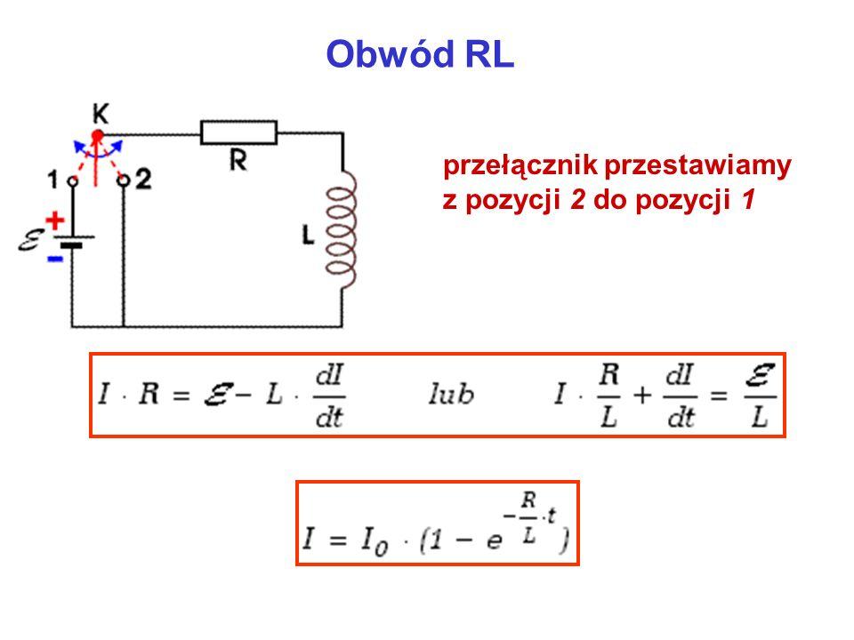 Obwód RL przełącznik przestawiamy z pozycji 2 do pozycji 1