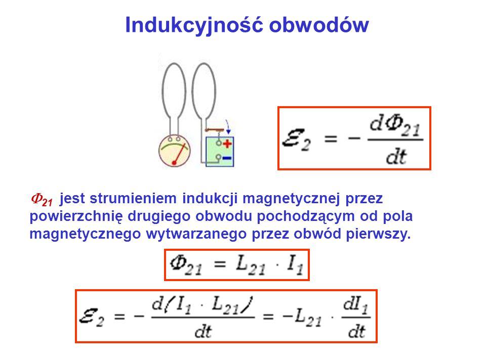 Indukcyjność obwodów 21 jest strumieniem indukcji magnetycznej przez powierzchnię drugiego obwodu pochodzącym od pola magnetycznego wytwarzanego przez