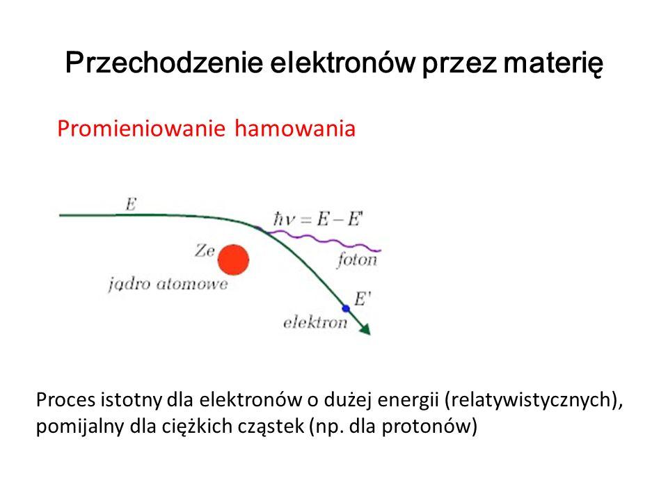 Przechodzenie elektronów przez materię Promieniowanie hamowania Proces istotny dla elektronów o dużej energii (relatywistycznych), pomijalny dla ciężk