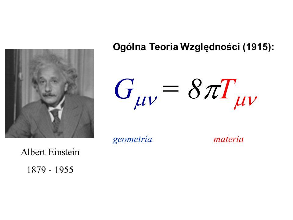 Albert Einstein 1879 - 1955 Ogólna Teoria Względności (1915): G = 8 T geometria materia