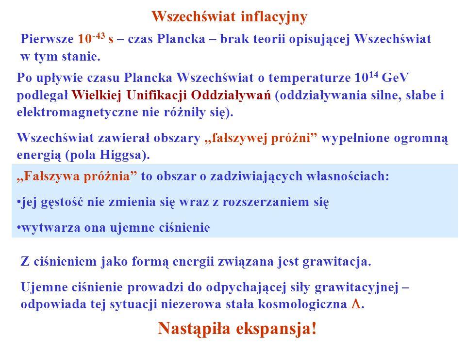 Wszechświat inflacyjny Pierwsze 10 -43 s – czas Plancka – brak teorii opisującej Wszechświat w tym stanie. Po upływie czasu Plancka Wszechświat o temp