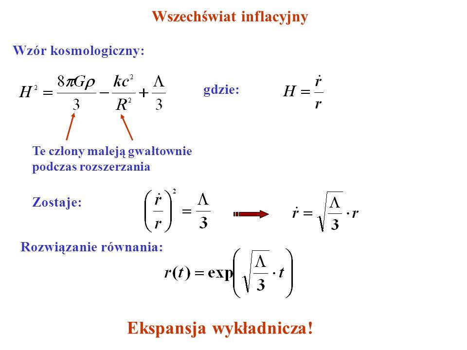 Wszechświat inflacyjny Wzór kosmologiczny:gdzie: Te człony maleją gwałtownie podczas rozszerzania Zostaje: Rozwiązanie równania: Ekspansja wykładnicza