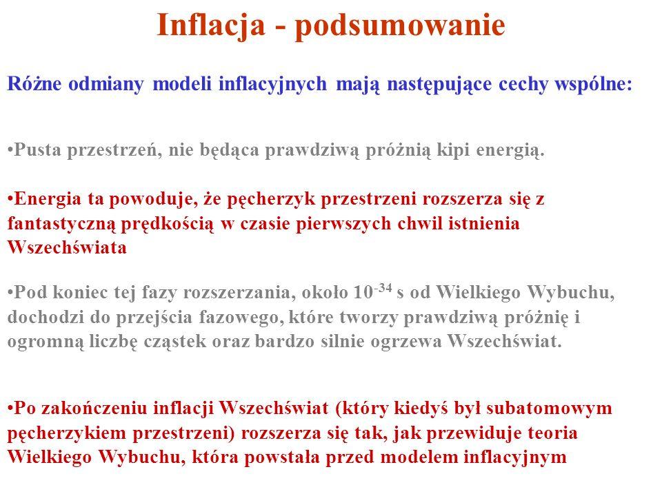 Inflacja - podsumowanie Różne odmiany modeli inflacyjnych mają następujące cechy wspólne: Pusta przestrzeń, nie będąca prawdziwą próżnią kipi energią.
