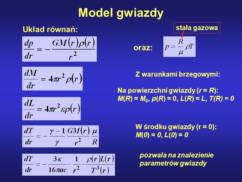 Układ równań: Model gwiazdy Z warunkami brzegowymi: Na powierzchni gwiazdy (r = R): M(R) = M 0, p(R) = 0, L(R) = L, T(R) = 0 W środku gwiazdy (r = 0):