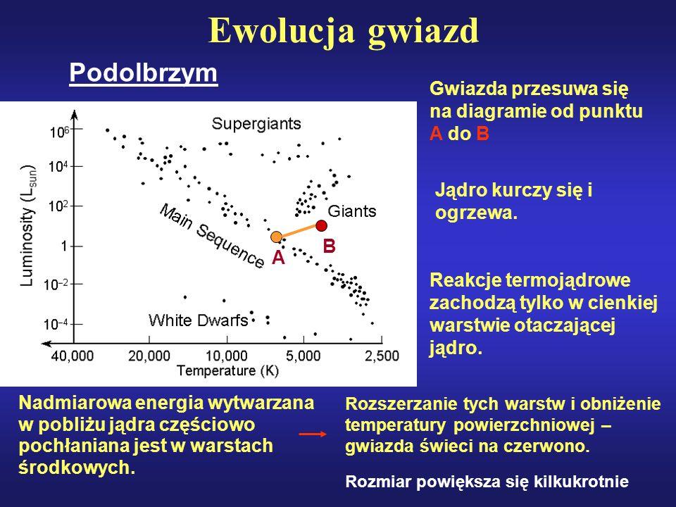 Ewolucja gwiazd Gwiazda przesuwa się na diagramie od punktu A do B Nadmiarowa energia wytwarzana w pobliżu jądra częściowo pochłaniana jest w warstach