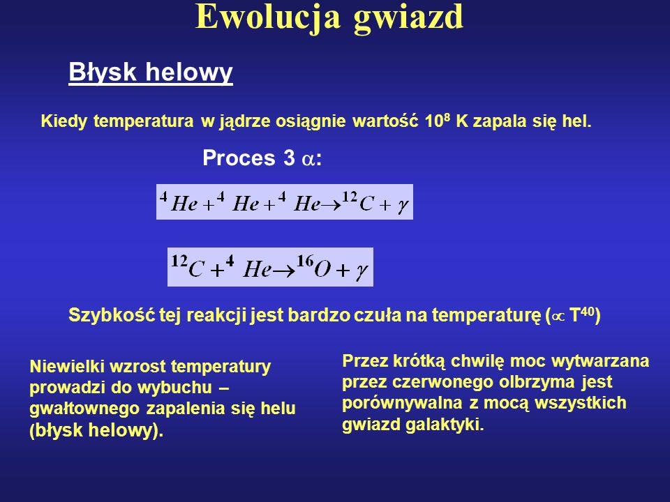 Ewolucja gwiazd Błysk helowy Kiedy temperatura w jądrze osiągnie wartość 10 8 K zapala się hel. Proces 3 : Szybkość tej reakcji jest bardzo czuła na t