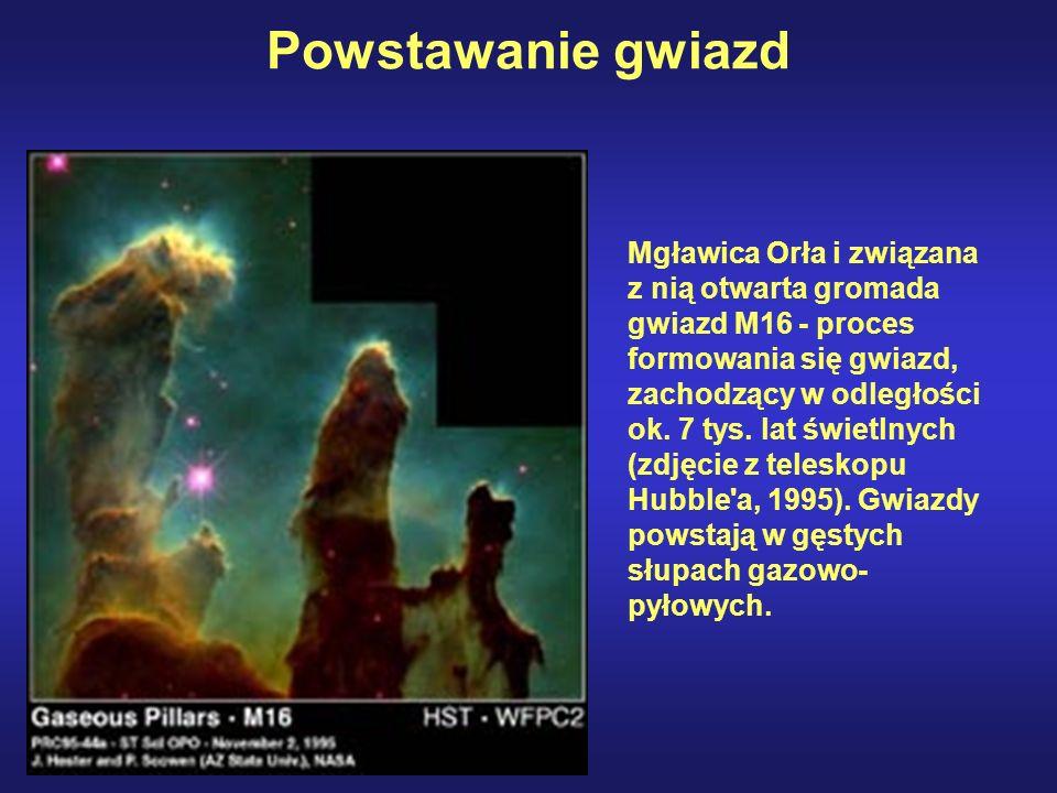 Obłoki gazowo-pyłowe – zimne, ciemne kondensacje pyłów i gazów służą jako kolebka gwiazd.