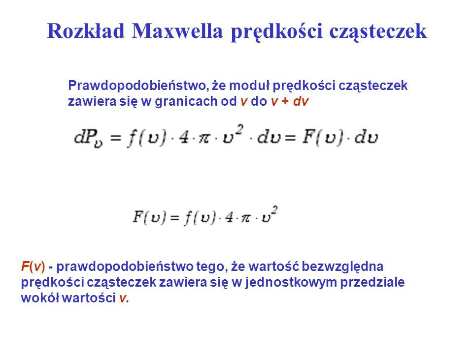 Rozkład Maxwella prędkości cząsteczek Prawdopodobieństwo, że moduł prędkości cząsteczek zawiera się w granicach od v do v + dv F(v) - prawdopodobieńst