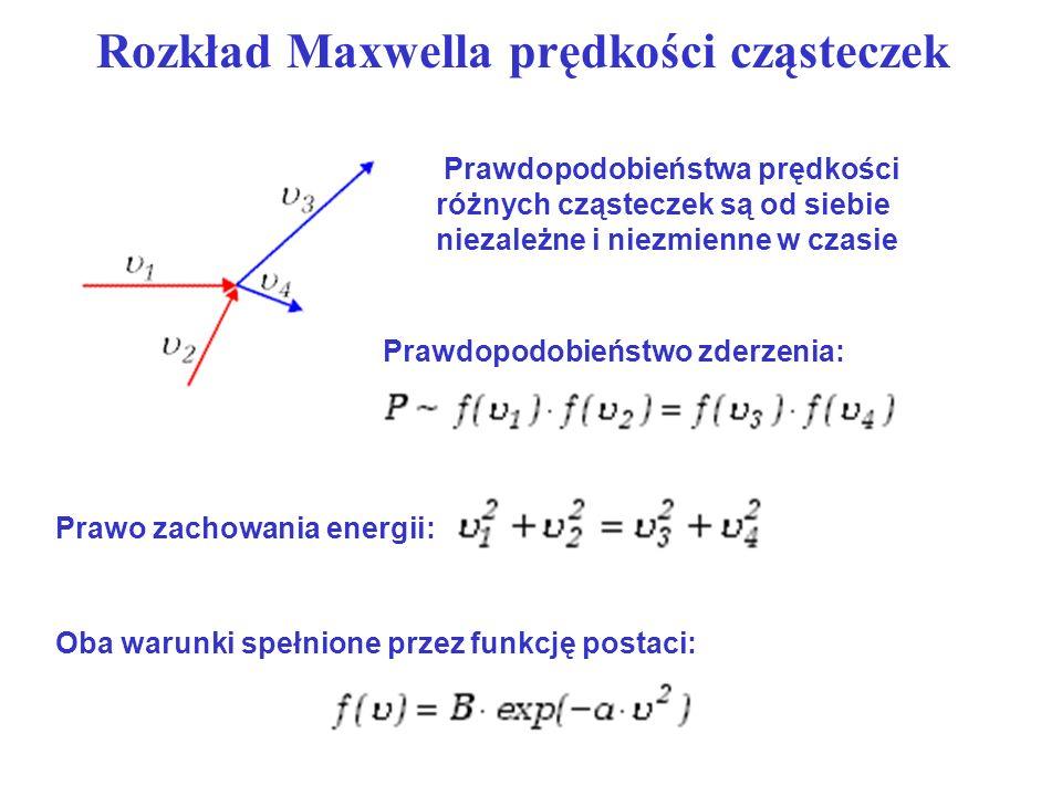 Rozkład Maxwella prędkości cząsteczek Prawdopodobieństwa prędkości różnych cząsteczek są od siebie niezależne i niezmienne w czasie Prawdopodobieństwo