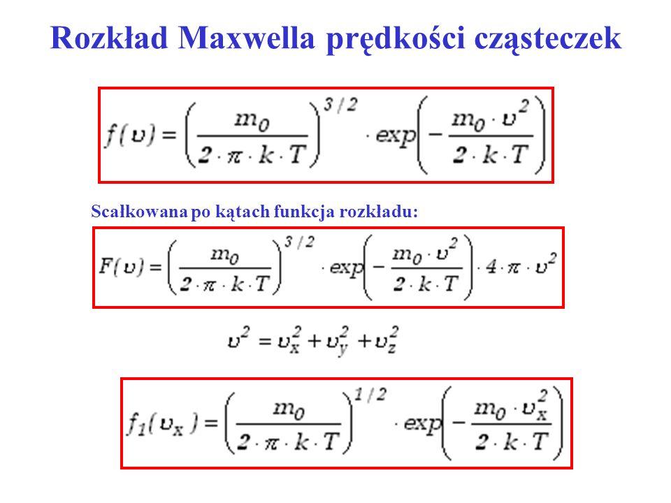 Rozkład Maxwella prędkości cząsteczek Scałkowana po kątach funkcja rozkładu: