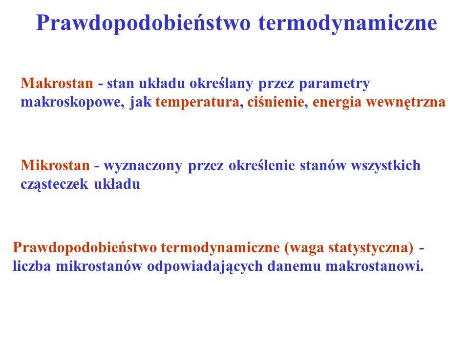 Prawdopodobieństwo termodynamiczne Makrostan - stan układu określany przez parametry makroskopowe, jak temperatura, ciśnienie, energia wewnętrzna Mikr