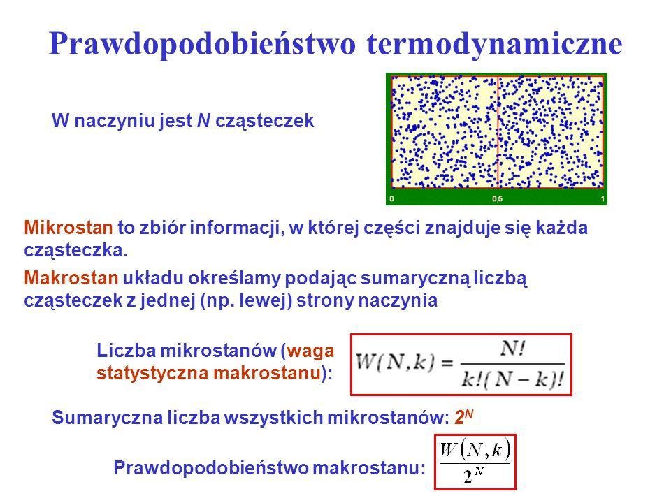 Prawdopodobieństwo termodynamiczne W naczyniu jest N cząsteczek Mikrostan to zbiór informacji, w której części znajduje się każda cząsteczka. Makrosta