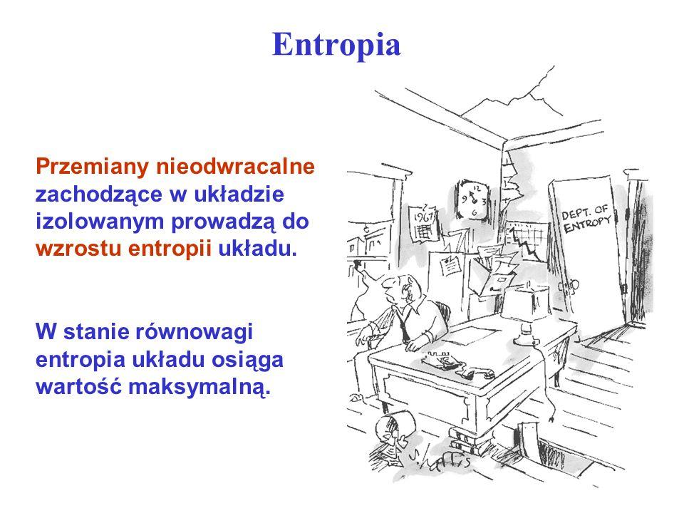 Entropia W stanie równowagi entropia układu osiąga wartość maksymalną. Przemiany nieodwracalne zachodzące w układzie izolowanym prowadzą do wzrostu en