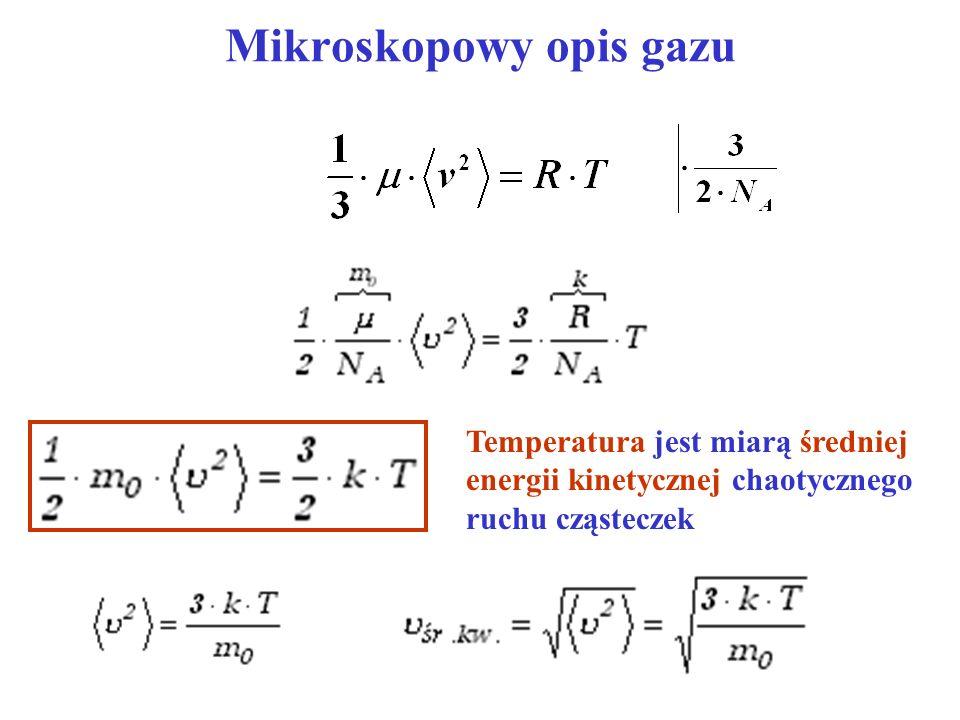 Temperatura jest miarą średniej energii kinetycznej chaotycznego ruchu cząsteczek
