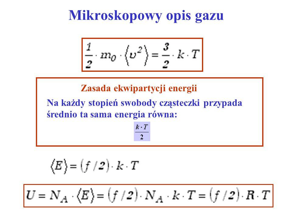 Mikroskopowy opis gazu Zasada ekwipartycji energii Na każdy stopień swobody cząsteczki przypada średnio ta sama energia równa: