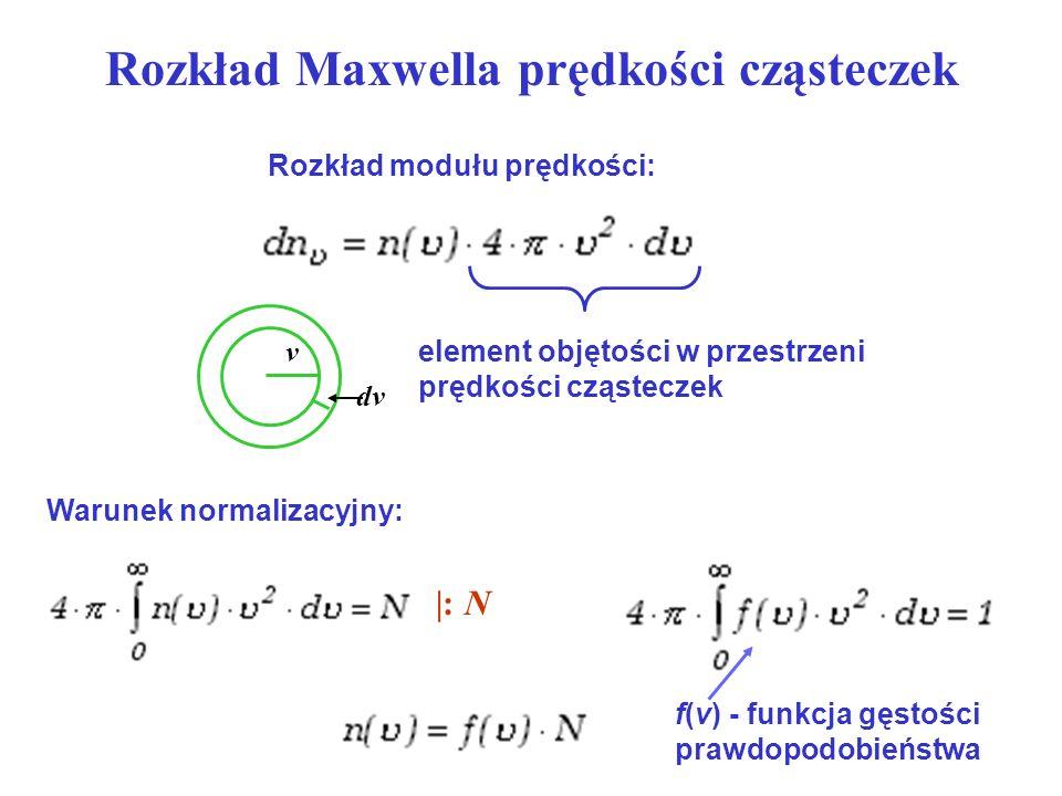 Rozkład Maxwella prędkości cząsteczek Rozkład modułu prędkości: element objętości w przestrzeni prędkości cząsteczek v dv Warunek normalizacyjny: |: N