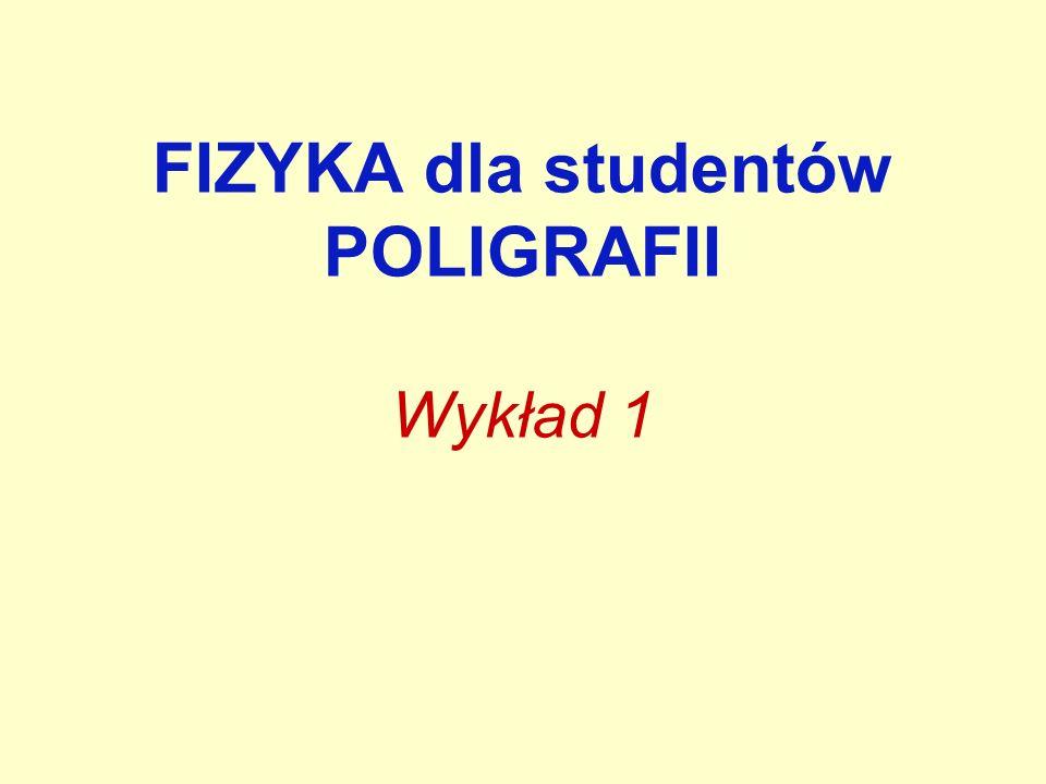 FIZYKA dla studentów POLIGRAFII Wykład 1