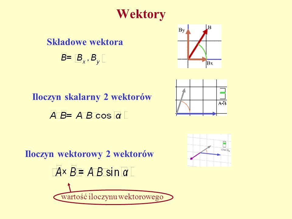 Wektory Składowe wektoraIloczyn skalarny 2 wektorów Iloczyn wektorowy 2 wektorów wartość iloczynu wektorowego