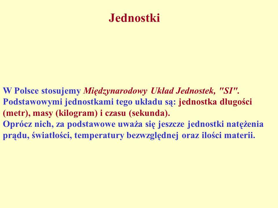 Jednostki W Polsce stosujemy Międzynarodowy Układ Jednostek,
