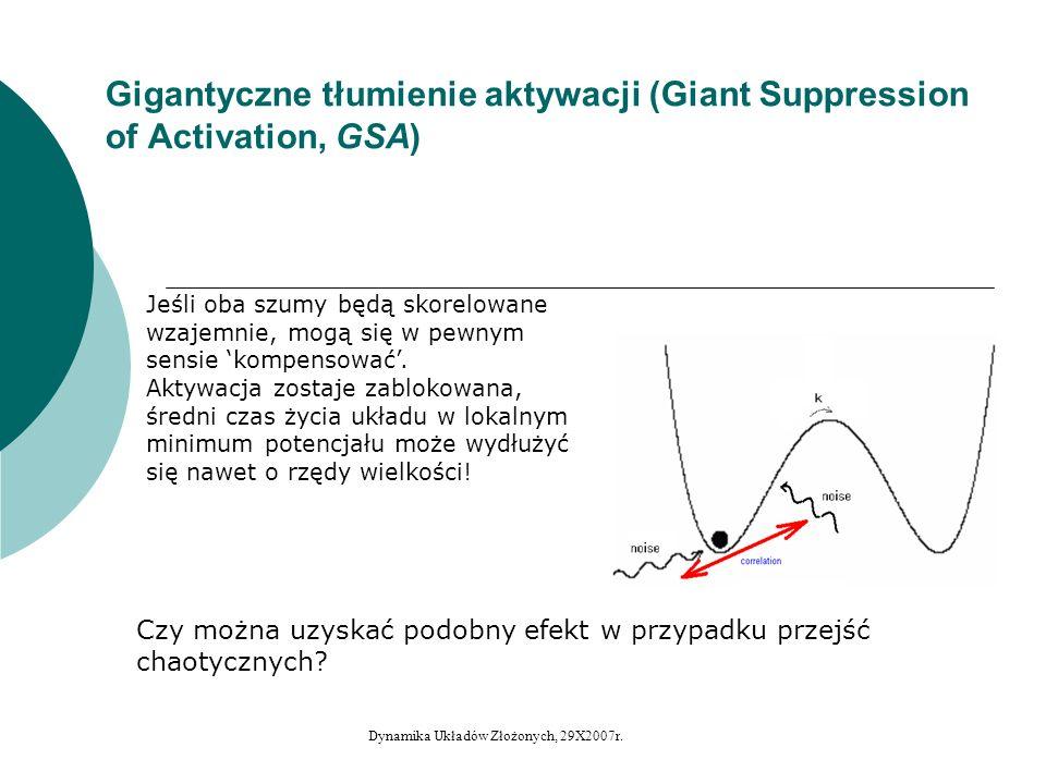 Półdeterministyczne gigantyczne tłumienie aktywacji (w układach z kryzysem wewnętrznym) Układ Ikedy – zmienna v, jako unormowana zmienna y: Dodany szum ma postać: Dynamika Układów Złożonych, 29X2007r.