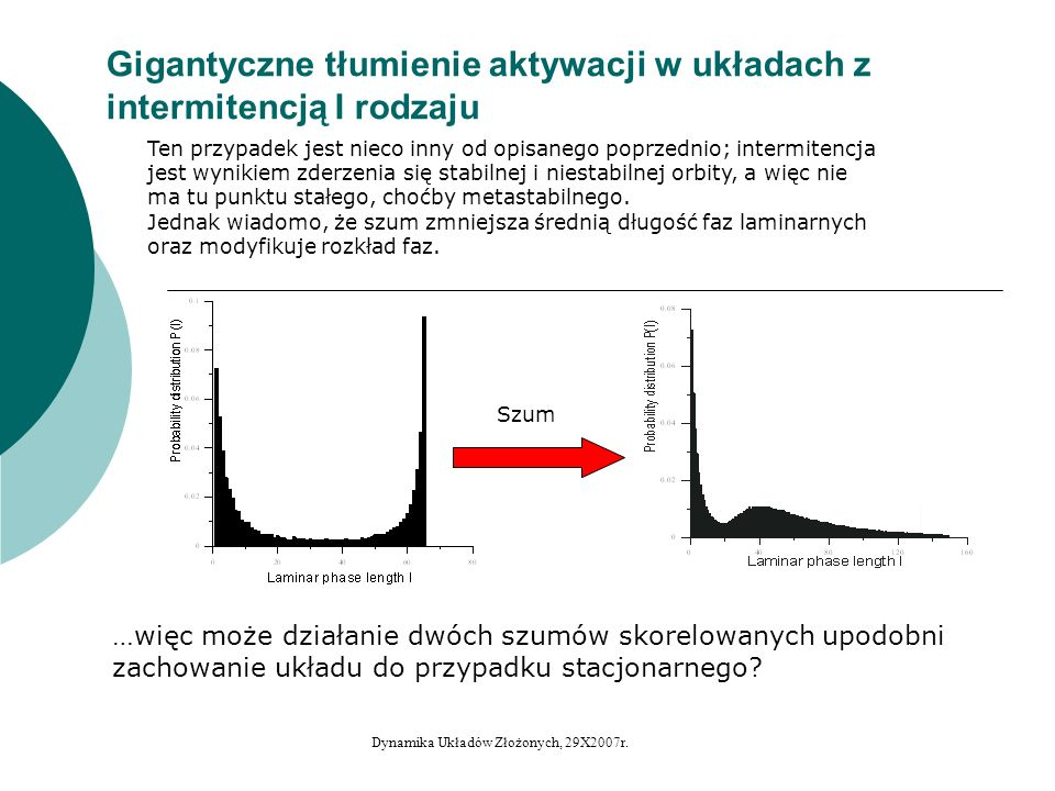 Półdeterministyczne gigantyczne tłumienie aktywacji (w układach z kryzysem wewnętrznym) Uwagi: Tak zdefiniowany szum n ie ma rozkładu normalnego (bo v nie ma rozkładu normalnego); przy założeniu, że v ma rozkład ściśle równomierny, ma rozkład: Własności statystyczne y jako szumu obliczano przed kryzysem.