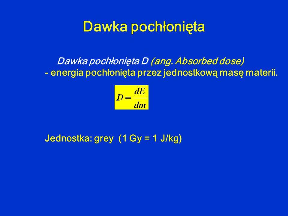 Dawka pochłonięta Dawka pochłonięta D (ang. Absorbed dose) - energia pochłonięta przez jednostkową masę materii. Jednostka: grey (1 Gy = 1 J/kg)