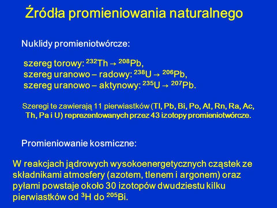 Szeregi te zawierają 11 pierwiastków (Tl, Pb, Bi, Po, At, Rn, Ra, Ac, Th, Pa i U) reprezentowanych przez 43 izotopy promieniotwórcze. Źródła promienio