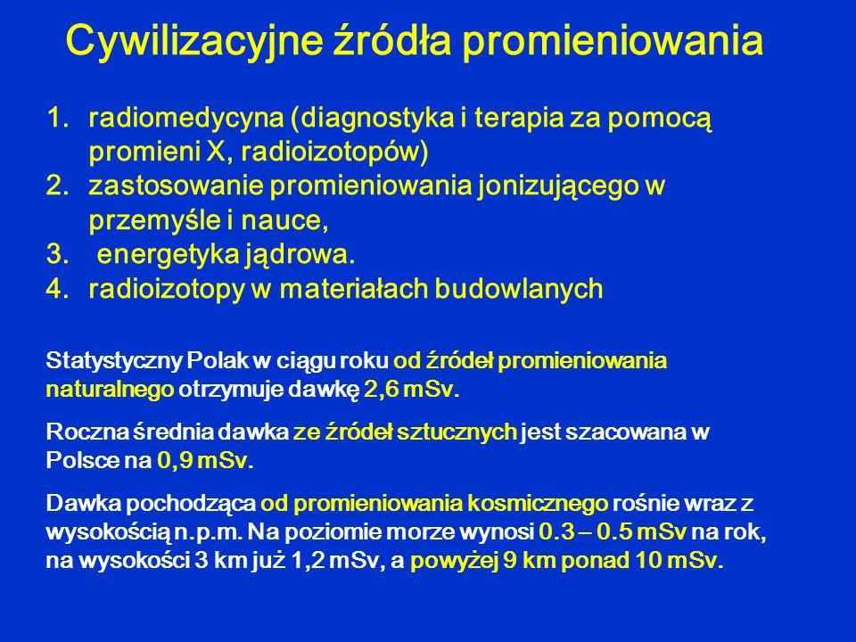 1.radiomedycyna (diagnostyka i terapia za pomocą promieni X, radioizotopów) 2.zastosowanie promieniowania jonizującego w przemyśle i nauce, 3. energet