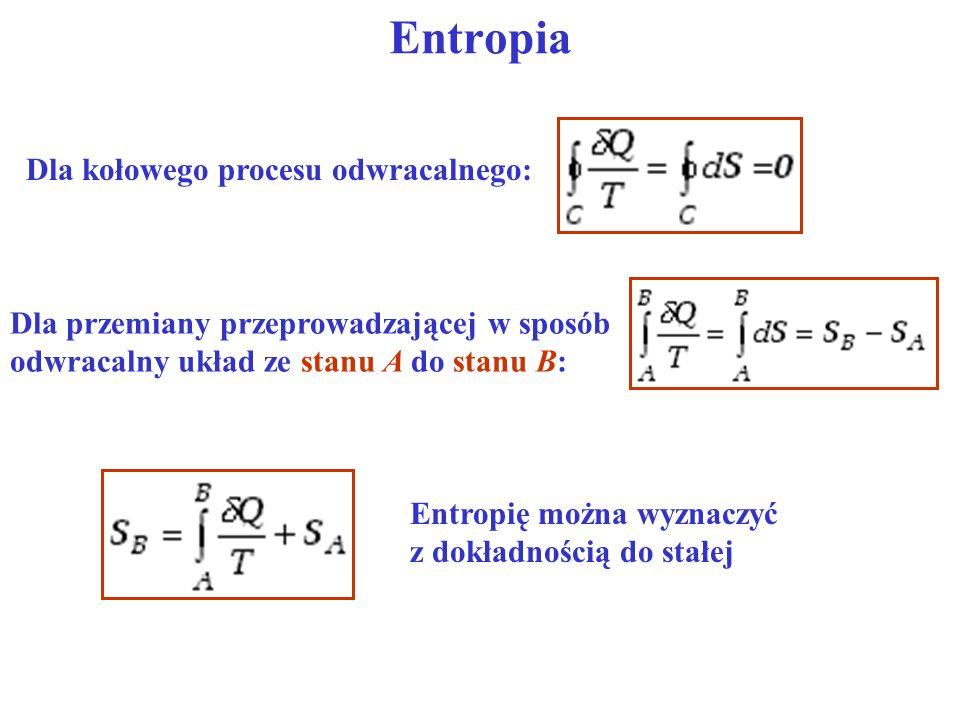 Dla kołowego procesu odwracalnego: Dla przemiany przeprowadzającej w sposób odwracalny układ ze stanu A do stanu B: Entropię można wyznaczyć z dokładn