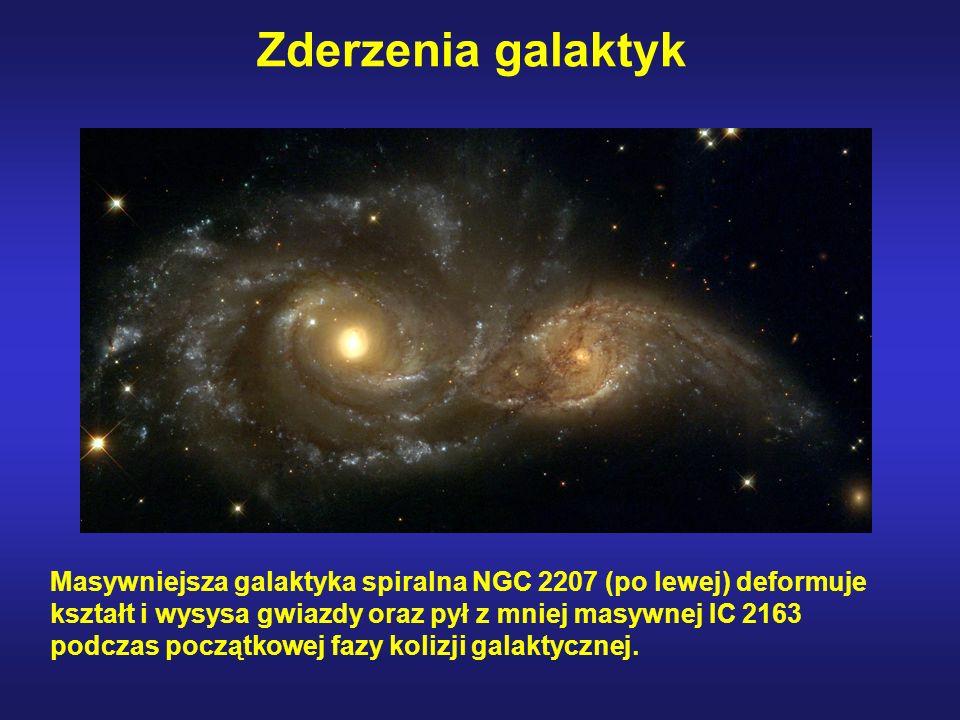 Zderzenia galaktyk Masywniejsza galaktyka spiralna NGC 2207 (po lewej) deformuje kształt i wysysa gwiazdy oraz pył z mniej masywnej IC 2163 podczas po