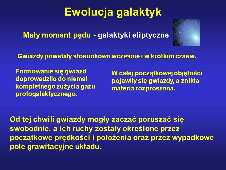 Ewolucja galaktyk Gwiazdy powstały stosunkowo wcześnie i w krótkim czasie. Formowanie się gwiazd doprowadziło do niemal kompletnego zużycia gazu proto
