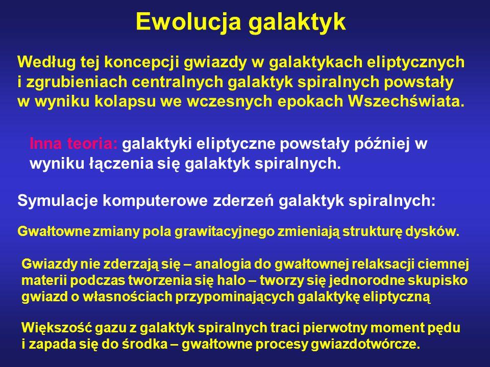 Ewolucja galaktyk Według tej koncepcji gwiazdy w galaktykach eliptycznych i zgrubieniach centralnych galaktyk spiralnych powstały w wyniku kolapsu we
