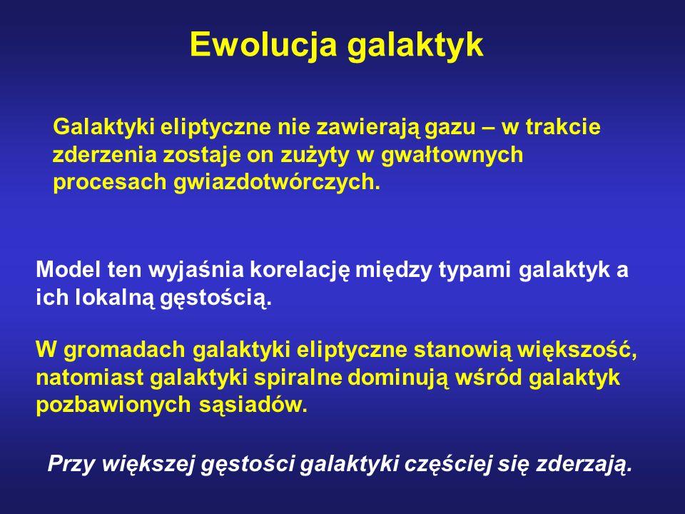Galaktyki eliptyczne nie zawierają gazu – w trakcie zderzenia zostaje on zużyty w gwałtownych procesach gwiazdotwórczych. Model ten wyjaśnia korelację