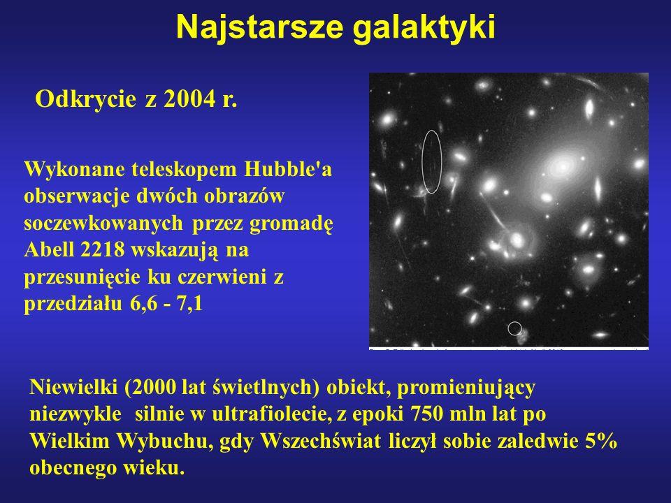 Najstarsze galaktyki Odkrycie z 2004 r. Wykonane teleskopem Hubble'a obserwacje dwóch obrazów soczewkowanych przez gromadę Abell 2218 wskazują na prze