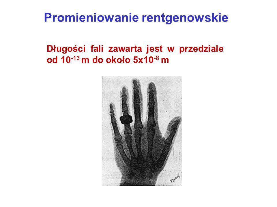 Promieniowanie rentgenowskie Długości fali zawarta jest w przedziale od 10 -13 m do około 5x10 -8 m