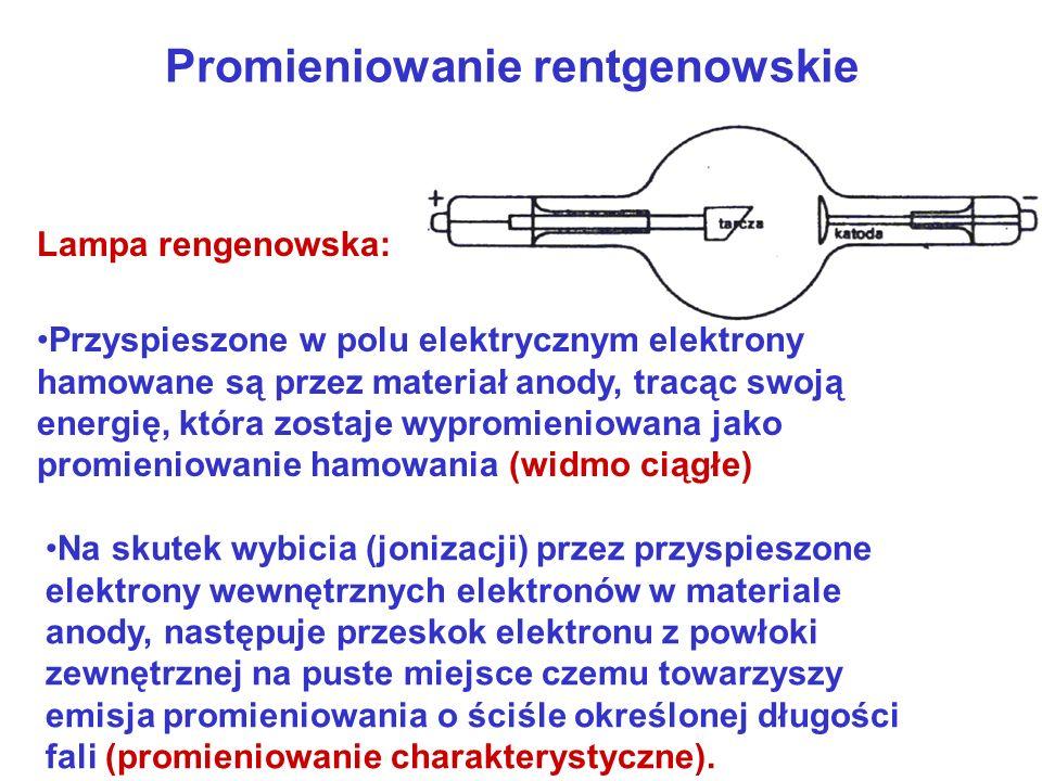 Promieniowanie rentgenowskie Przyspieszone w polu elektrycznym elektrony hamowane są przez materiał anody, tracąc swoją energię, która zostaje wypromieniowana jako promieniowanie hamowania (widmo ciągłe) Na skutek wybicia (jonizacji) przez przyspieszone elektrony wewnętrznych elektronów w materiale anody, następuje przeskok elektronu z powłoki zewnętrznej na puste miejsce czemu towarzyszy emisja promieniowania o ściśle określonej długości fali (promieniowanie charakterystyczne).