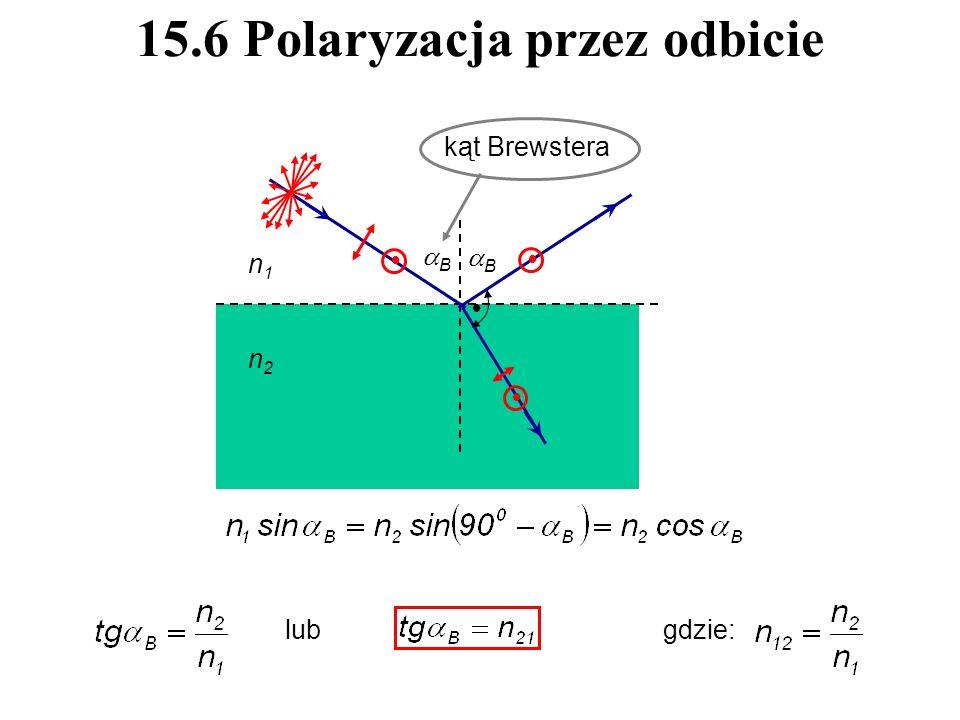 15.6 Polaryzacja przez odbicie kąt Brewstera lubgdzie: B B n1n1 n2n2